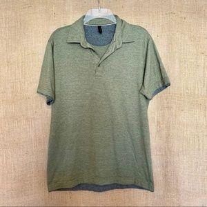 Men's Olive Green Polo Shirt Cool Gray Trim Medium